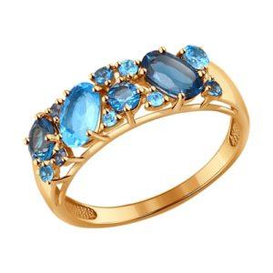 Кольцо из золота с синими топазами