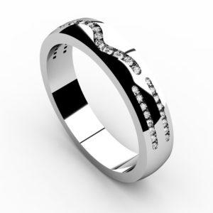 Кольцо из белого золота 585 пробы с дорожками бриллиантов
