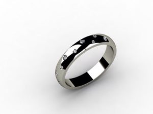 Обручальное кольцо из белого золота и 10 бриллиантов
