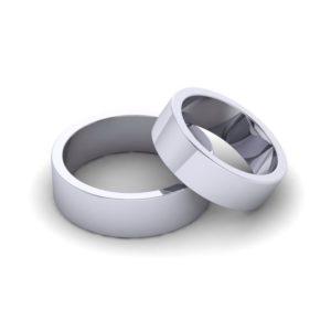 Классическое обручальное кольцо плоское (белое золото)