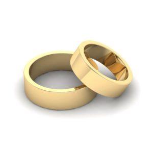 Классическое обручальное кольцо плоское (желтое золото)