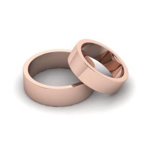 Обручальное кольцо плоское (розовое золото)