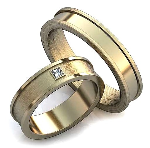 Обручальное кольцо с одним бриллиантом по середине