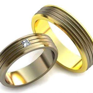 Обручальное кольцо с прямоугольным камнем 2.3х2.3мм