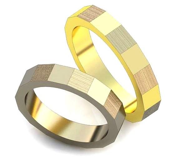 Обручальное кольцо с гранями обр0015