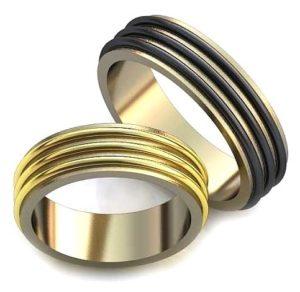 Широкое обручальное кольцо с эмалью