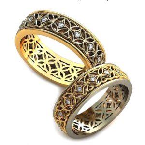 Обручальные кольца с узорами обр0084