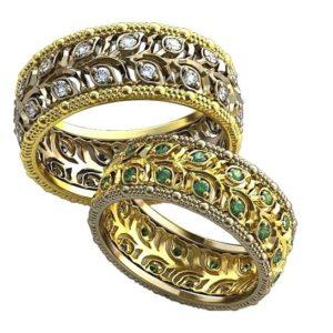 Обручальные кольца с узорами обр0117