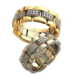 Плетёные обручальные кольца с драгоценными камнями