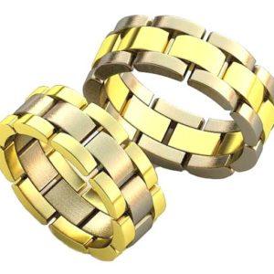 Плетёные обручальные кольца обр0109