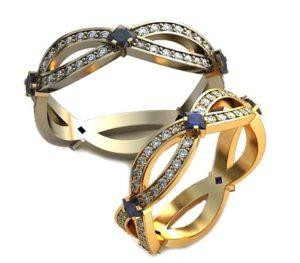 Плетёные обручальные кольца с бриллиантами и фианитами