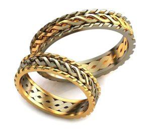 Плетёные обручальные кольца обр0298