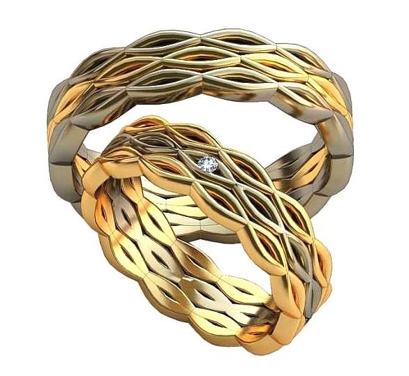 Плетёные обручальные кольца обр0386