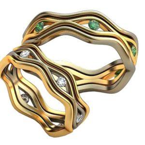 Плетёные обручальные кольца обр0387