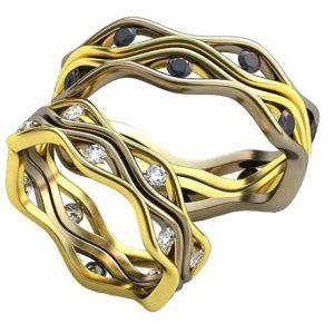 Плетёные обручальные кольца обр0388