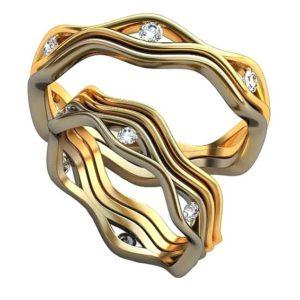 Плетёные обручальные кольца обр0389
