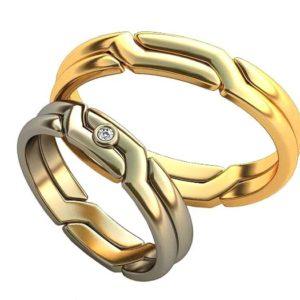 Плетёные обручальные кольца обр0391