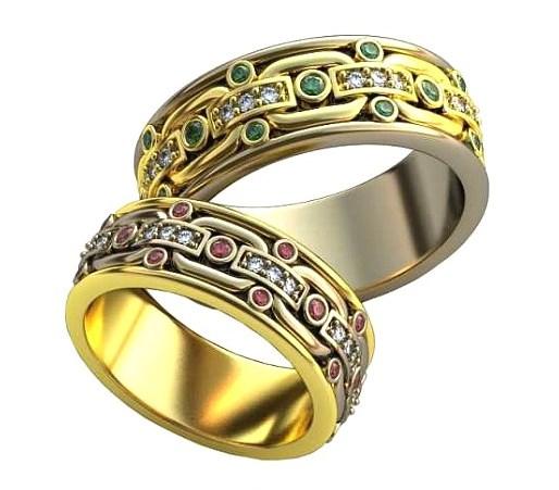 Плетёные обручальные кольца обр0393