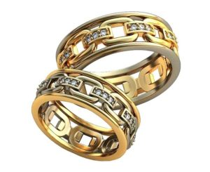 Плетёные обручальные кольца обр0395