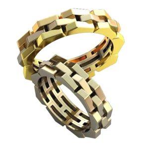 Плетёные обручальные кольца обр0435