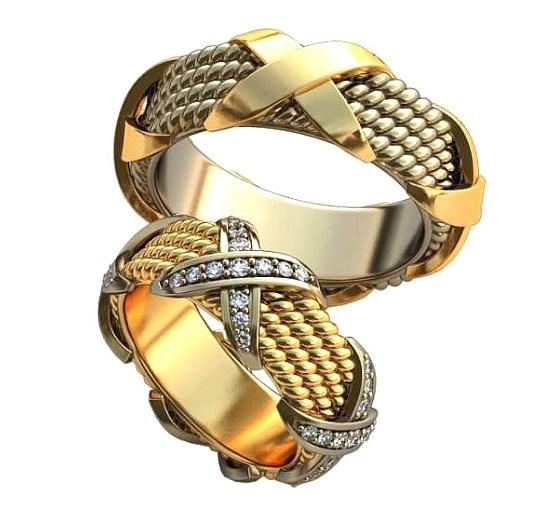 Плетёные обручальные кольца обр0439