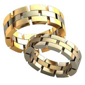Плетёные обручальные кольца обр0478