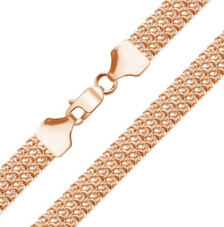 Мужская цепочка плетения «Бисмарк Тройной» из белого золота