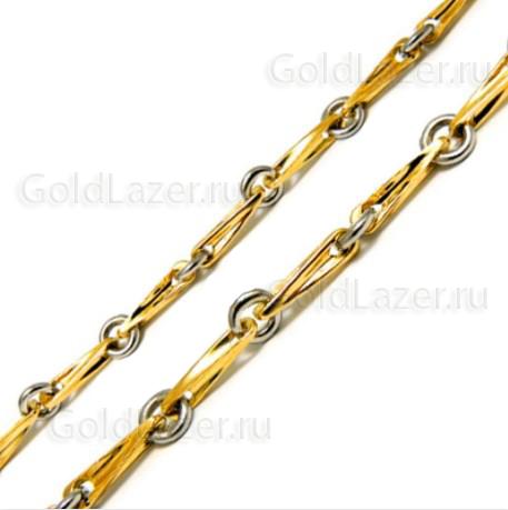 Цепочка из комбинированного золота с глидерными звеньями