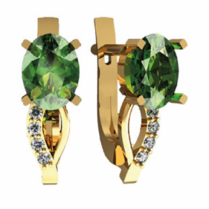 Золотые сережки с изумрудами и бриллиантами