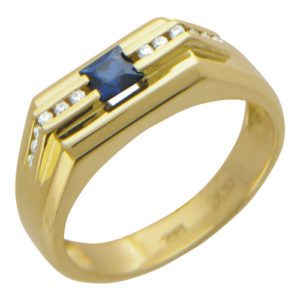 Мужское кольцо из желтого золота бриллиант сапфир