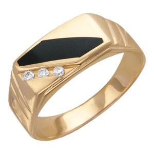 Мужское золотое кольцо бриллиант оникс