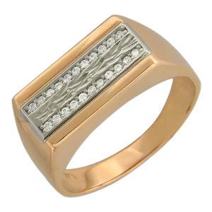 Мужское кольцо золото комби фианит