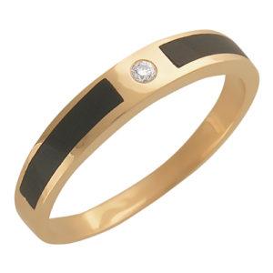 Кольцо мужское с ониксом и бриллиантом