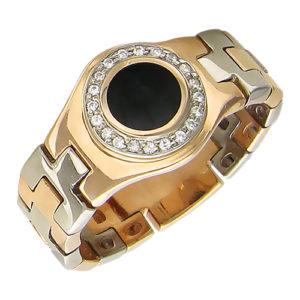 Мужское кольцо золото оникс фианит