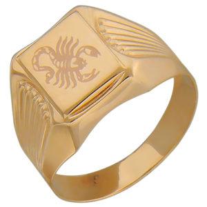 Мужское золотое кольцо с рисунком скорпиона