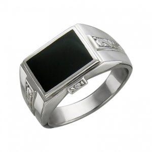 Мужской перстень из серебра с оникс