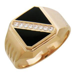 Мужской перстень из золота с оникс и бриллиантами