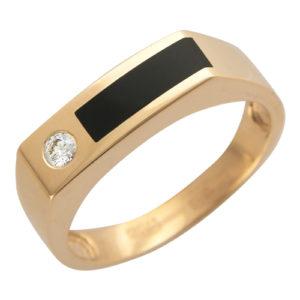 Мужской перстень из золота с ониксом и бриллиантом