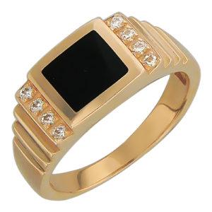 Мужской перстень с бриллиантами и ониксом
