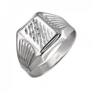 Мужской серебряный перстень из серебра с узором