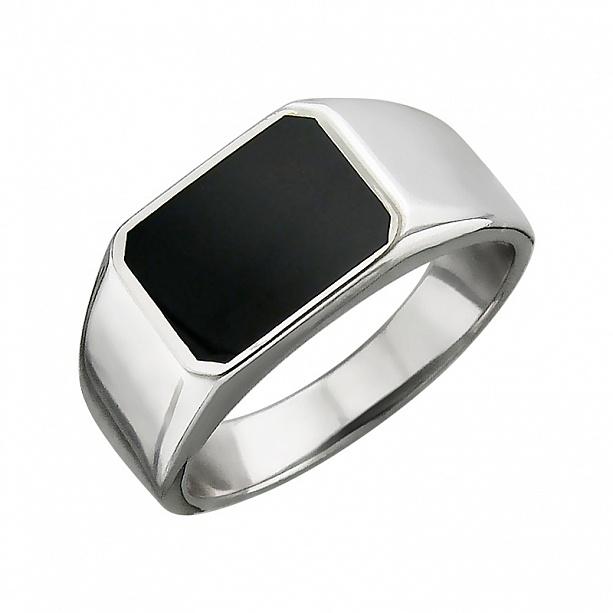 Серебряный мужской перстень со вставкой оникс