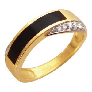 Мужское кольцо золото желтое оникс фианит