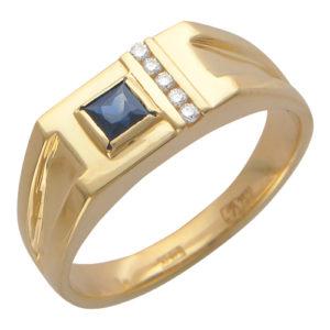 Мужское золотое кольцо бриллиант сапфир