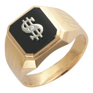 Мужское кольцо золото комби оникс фианит