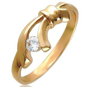 Кольцо с 1 фианитом из красного золота (арт. ж-8588к)