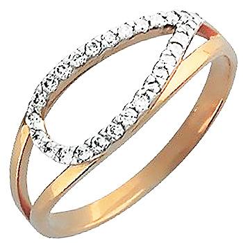 Кольцо с 35 фианитами из красного золота (арт. ж-8586к)