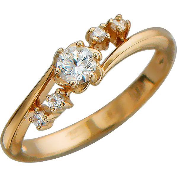 Кольцо с фианитами из красного золота (арт.ж-8581к)