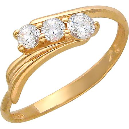 Кольцо с 3 фианитами из красного золота (арт.ж-8462к)