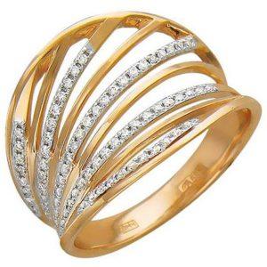 Кольцо с фианитами из красного золота (арт.ж-8568к)