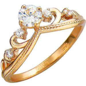 Кольцо Корона с фианитами из красного золота (арт. ж-8433к)